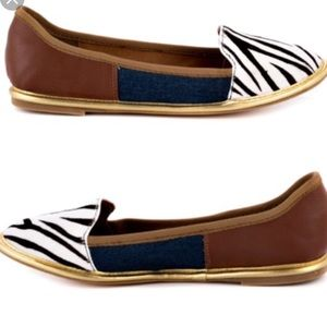 DV dolce vita 7.5 flats zebra gold blue red